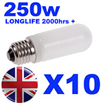 10x Longlife Halostar Halogen Modelling Bulb 250w for Bowens / Interfit / KARLite / Elemental Flash Heads INT500
