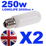 2x Longlife Halostar Halogen Modelling Bulb 250w for Bowens / Interfit / KARLite / Elemental Flash Heads INT500