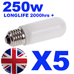 5x Longlife Halostar Halogen Modelling Bulb 250w for Bowens / Interfit / KARLite / Elemental Flash Heads INT500